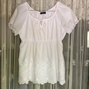 Lovely Babydoll Style Eyelet Cotton Top, Lined